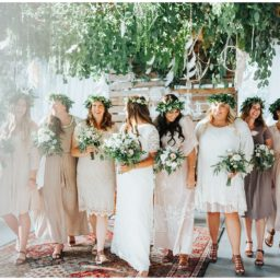 Bohemian Wedding Bridal Party, neutral colors, floral crown, Los Angeles Temple, Mesa Arizona, Boho details